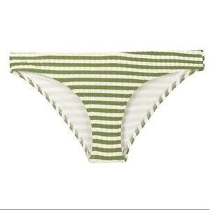 NWT SOLID & STRIPED Green Ribbed Bikini Bottom S